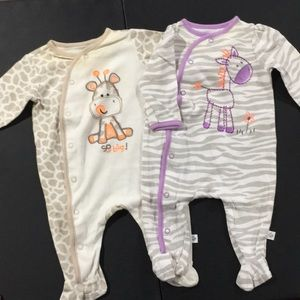 Infant sleep n play 2 pajamas size 3 months bundle